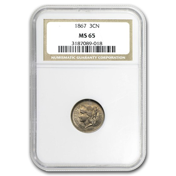 1867 Three Cent Nickel MS-65 NGC