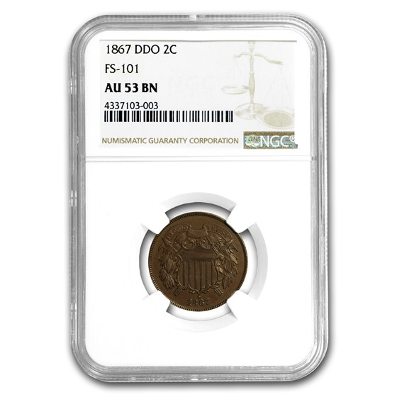 1867 Two Cent Piece AU-53 NGC (Doubled Die)