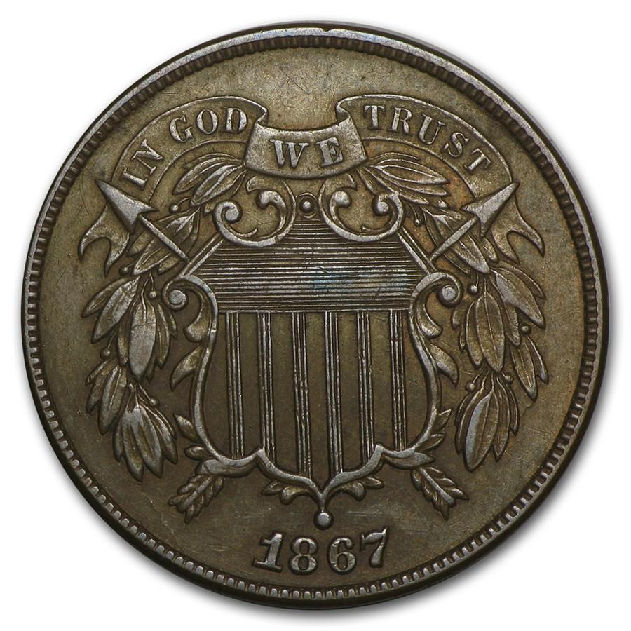 1867 Two Cent Piece AU