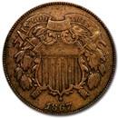 1867 Two Cent Piece Fine
