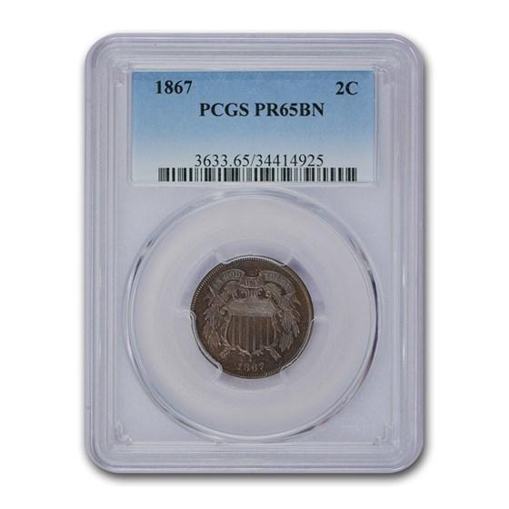 1867 Two Cent Piece PR-65 PCGS (Brown)