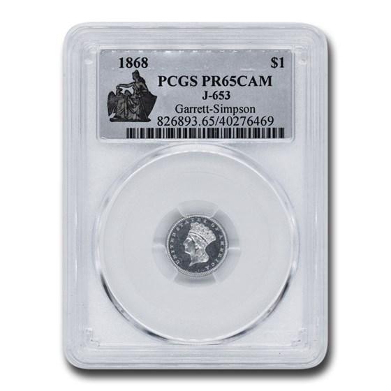 1868 $1.00 Indian Head Pattern PR-65 Cameo PCGS (J-653)