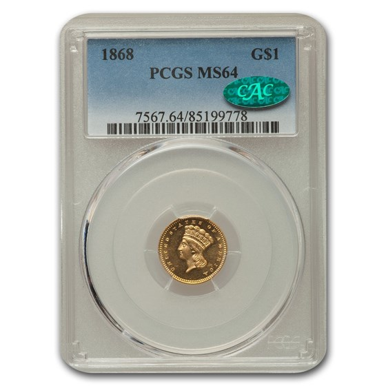 1868 $1 Indian Head Gold MS-64 PCGS CAC