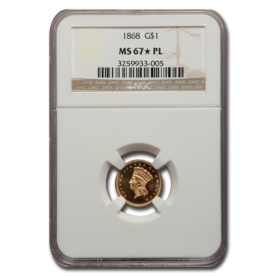 1868 $1 Indian Head Gold MS-67* NGC (PL)