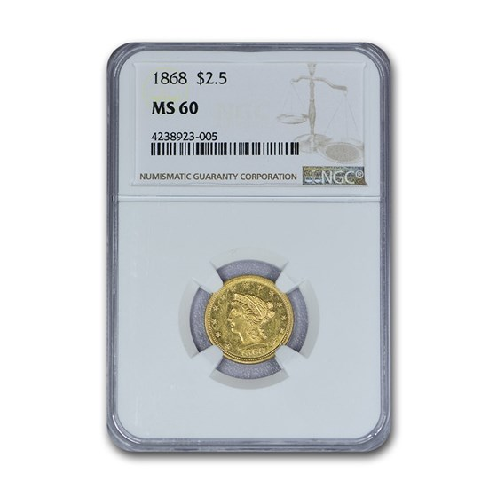 1868 $2.50 Liberty Gold Quarter Eagle MS-60 NGC