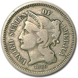 1868 3 Cent Nickel Fine