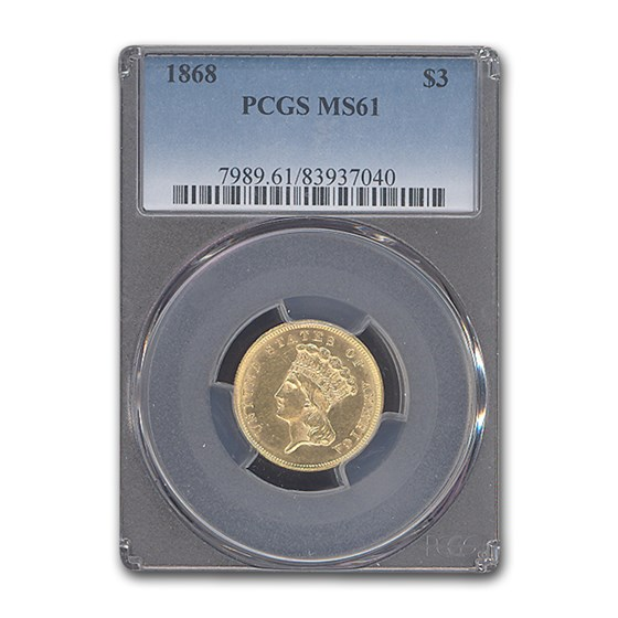 1868 $3 Gold Princess MS-61 PCGS