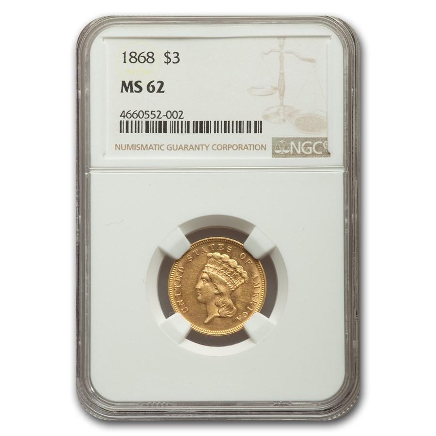 1868 $3 Gold Princess MS-62 NGC