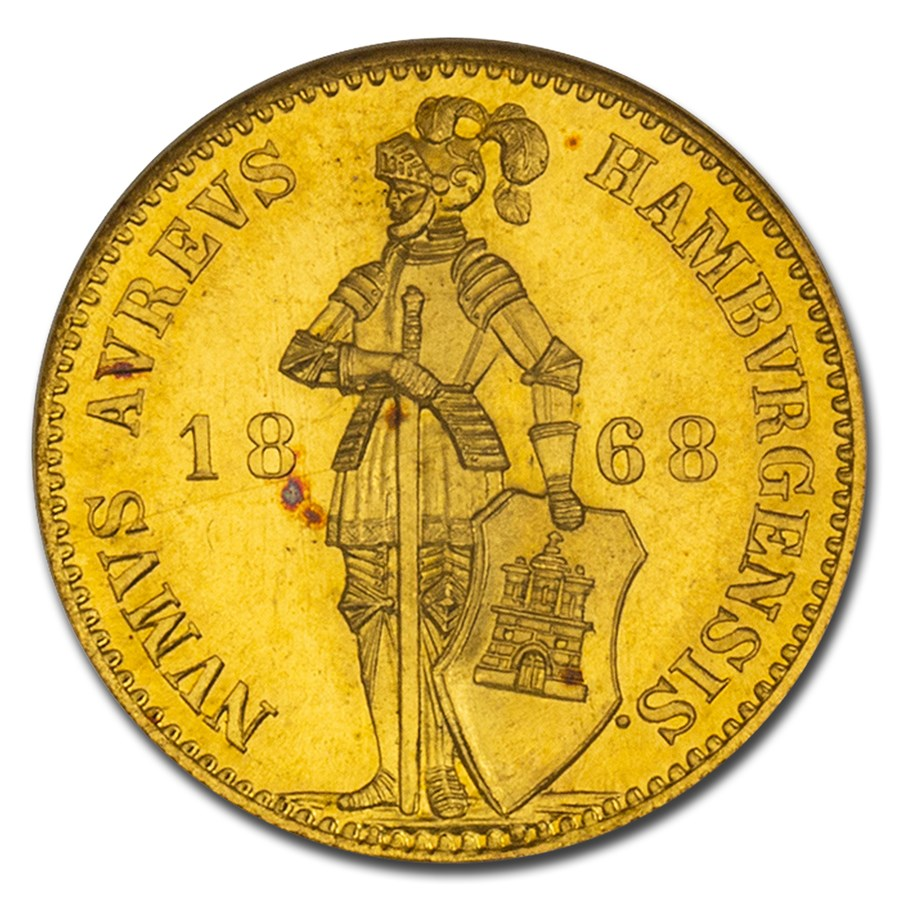 1868-B German States Hamburg AV Ducat MS-67 NGC