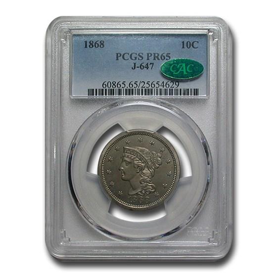 1868 Dime Pattern PR-65 PCGS CAC (J-647)
