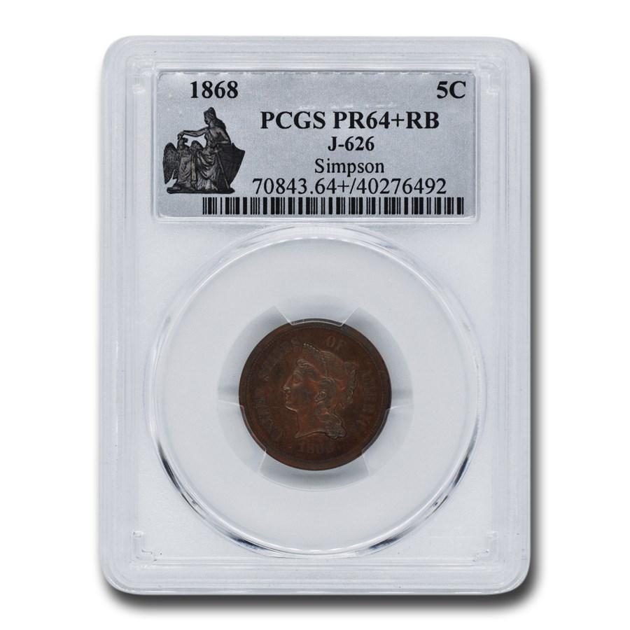 1868 Five Cent Nickel Pattern PR-64+ PCGS (Red/Brown J-626)