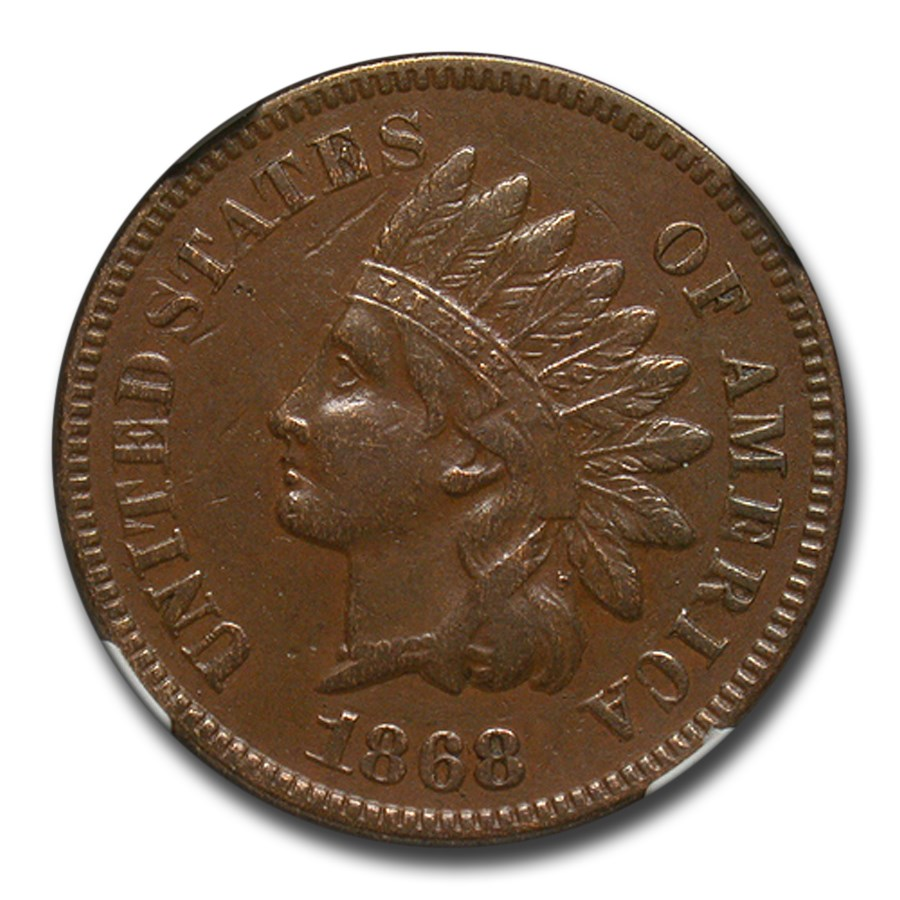 1868 Indian Head Cent AU-53 NGC (Brown)
