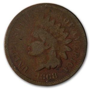1868 Indian Head Cent Good (Cleaned, Corroded or Dmgd)