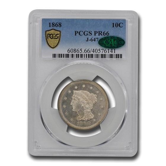 1868 Liberty Dime Pattern PR-66 PCGS CAC (J-647)