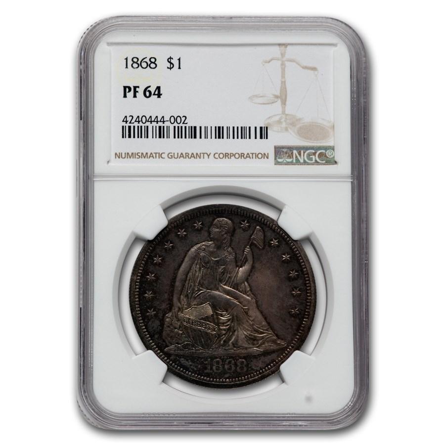 1868 Liberty Seated Dollar PF-64 NGC