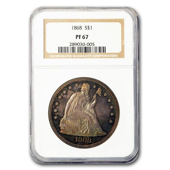 1868 Liberty Seated Dollar PF-67 NGC