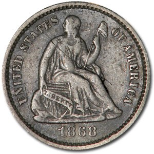 1868 Liberty Seated Half Dime XF