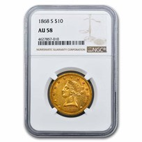 1868-S $10 Liberty Gold Eagle AU-58 NGC