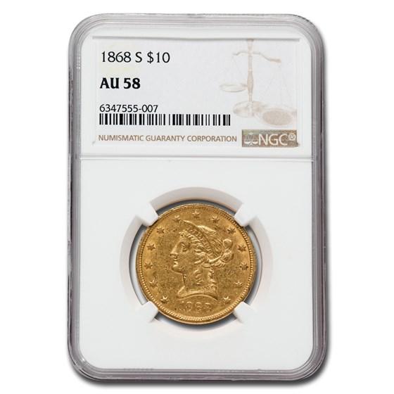 1868-S $10 Liberty Gold Eagle AU-58 NGC