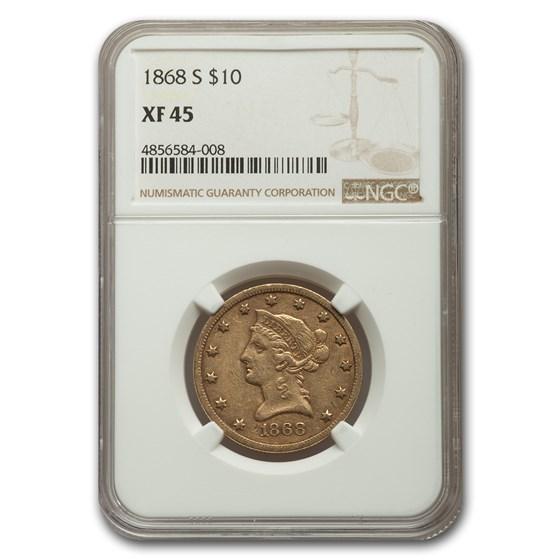 1868-S $10 Liberty Gold Eagle XF-45 NGC