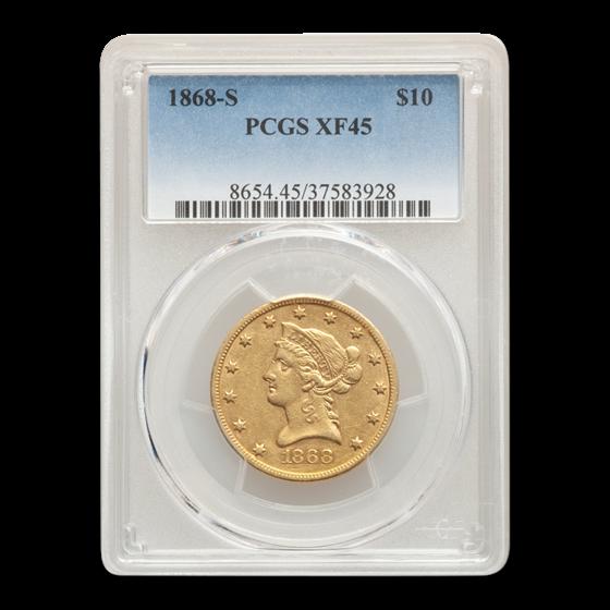 1868-S $10 Liberty Gold Eagle XF-45 PCGS
