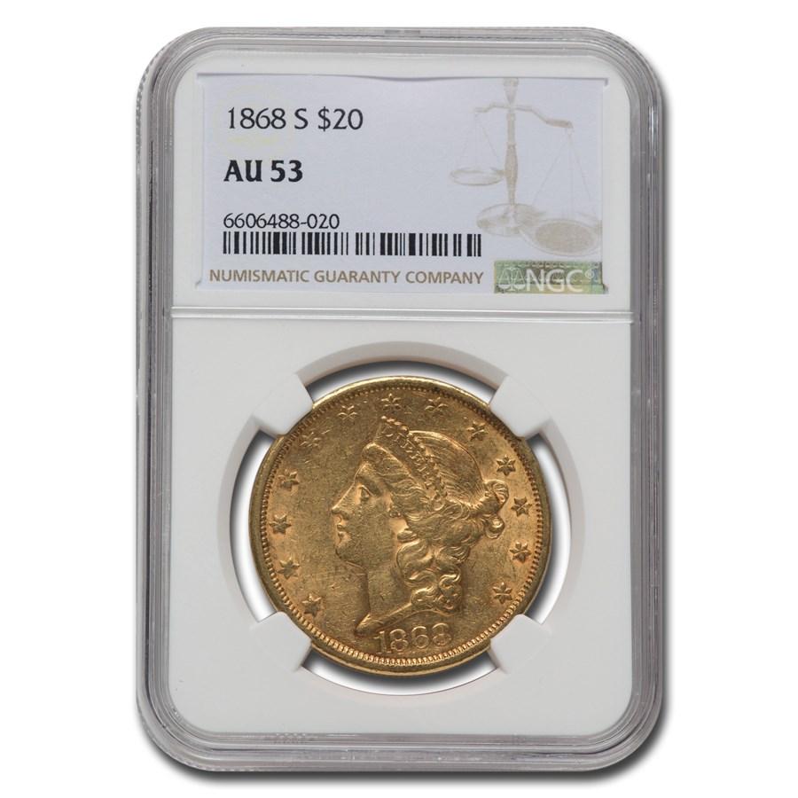 1868-S $20 Liberty Gold Double Eagle AU-53 NGC