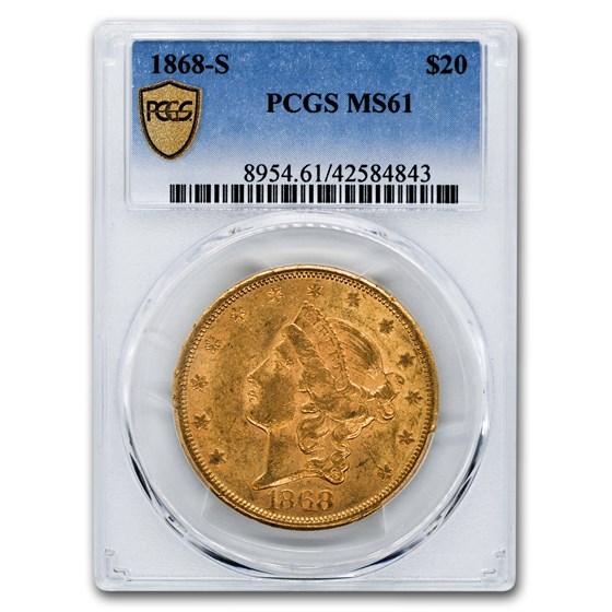 1868-S $20 Liberty Gold Double Eagle MS-61 PCGS