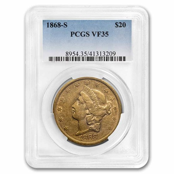 1868-S $20 Liberty Gold Double Eagle VF-35 PCGS
