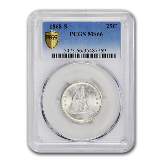 1868-S Liberty Seated Quarter MS-66 PCGS