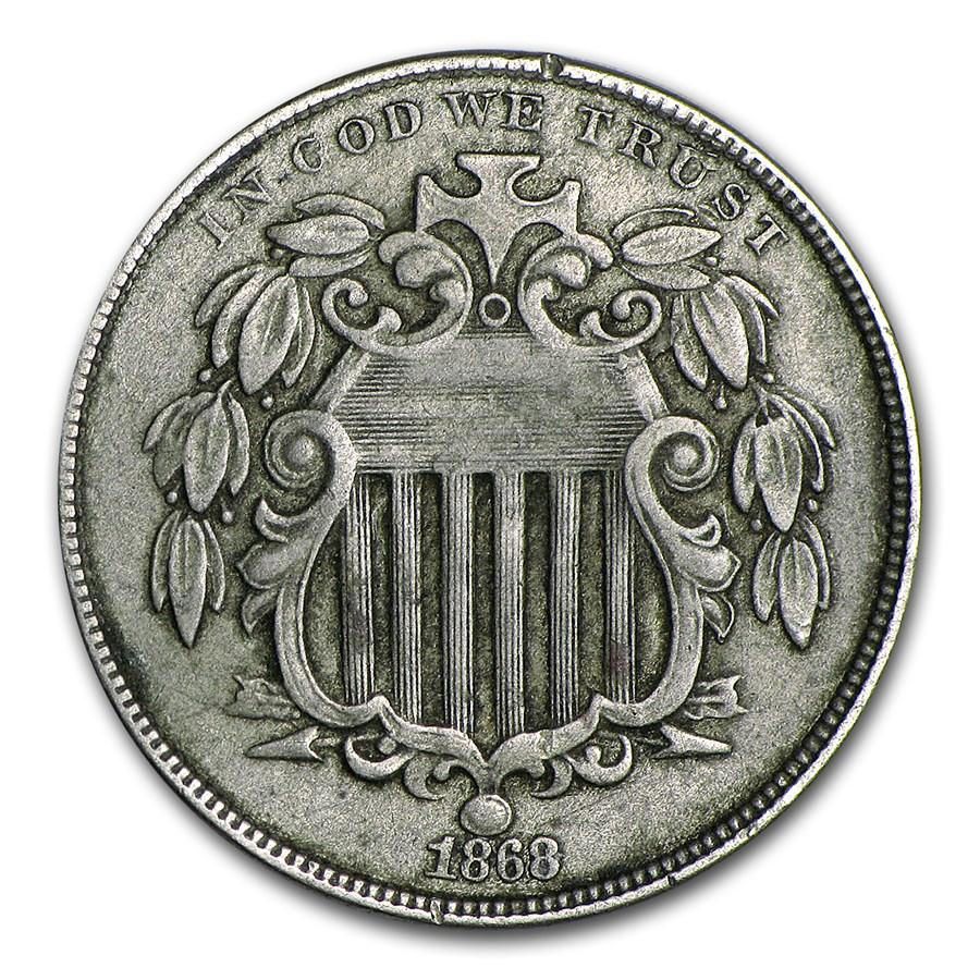 1868 Shield Nickel XF