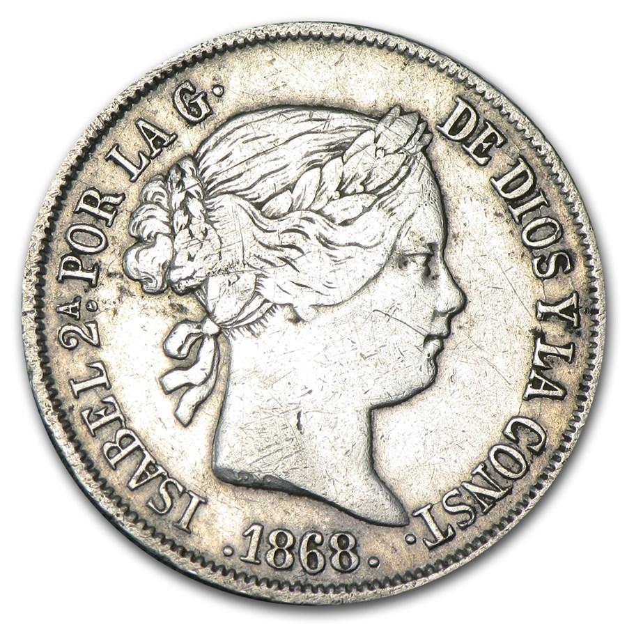 1868 Spain Silver 40 Centimos VF