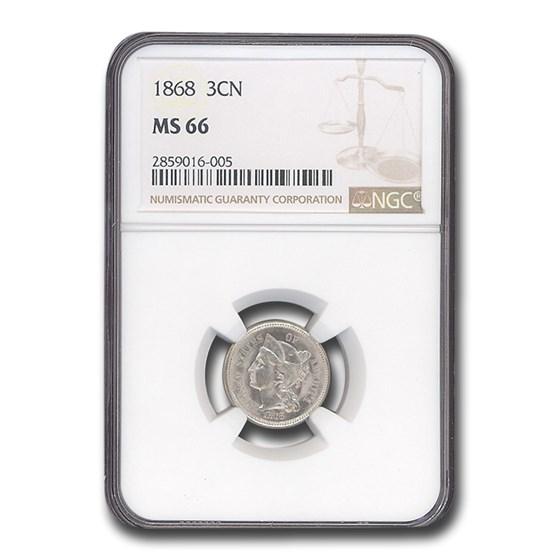 1868 Three Cent Nickel MS-66 NGC