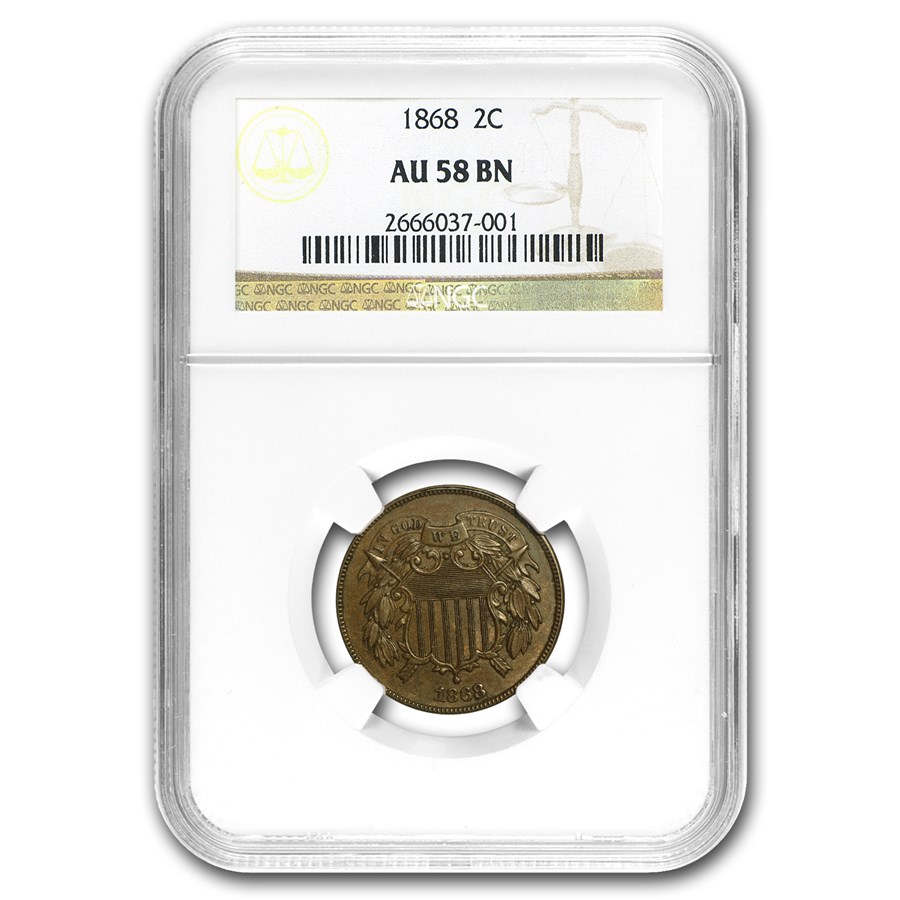 1868 Two Cent Piece AU-58 NGC