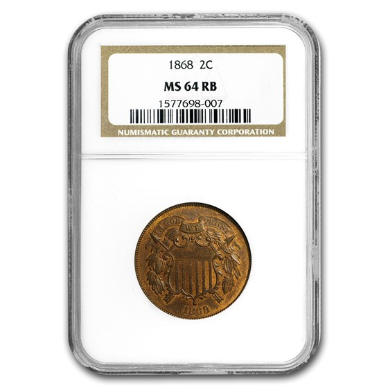 1868 Two Cent Piece MS-64 NGC (Red/Brown)