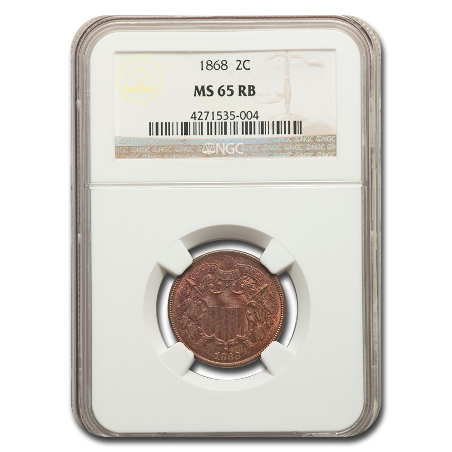 1868 Two Cent Piece MS-65 NGC (Red/Brown)