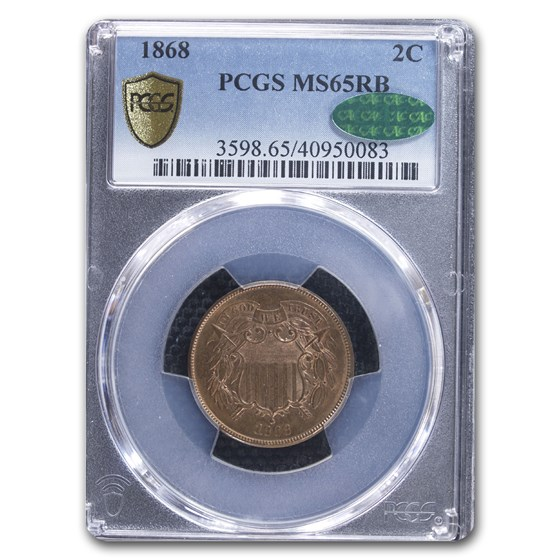 1868 Two Cent Piece MS-65 PCGS CAC (Red/Brown)