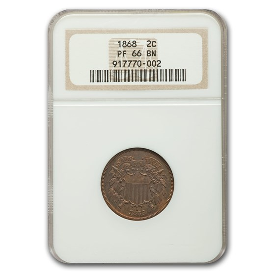 1868 Two Cent Piece PF-66 NGC (Brown)