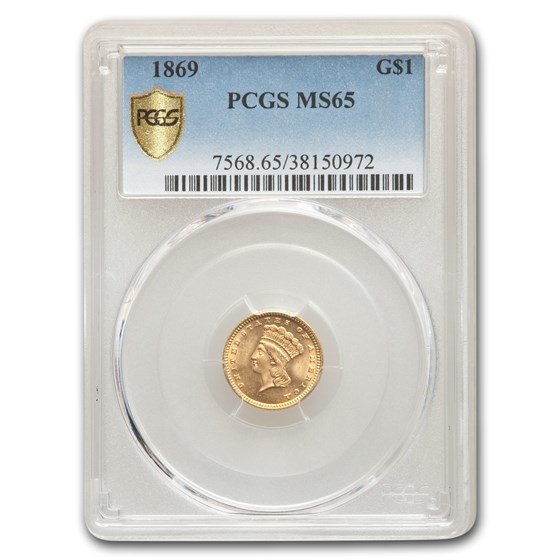 1869 $1 Indian Head Gold MS-65 PCGS