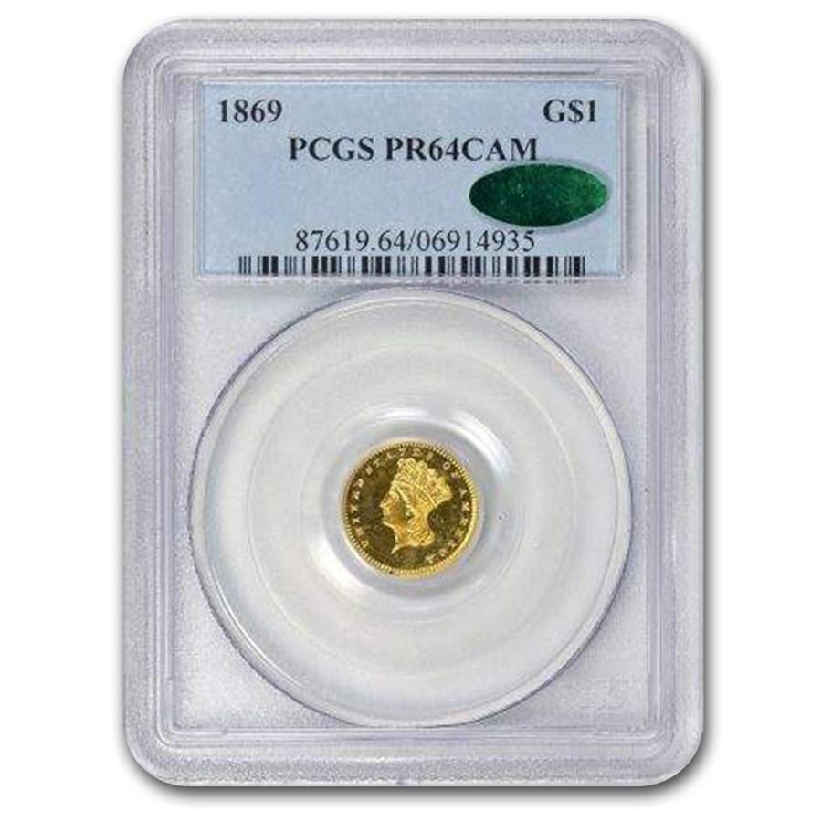 1869 $1 Indian Head Gold PR-64 Cameo PCGS CAC