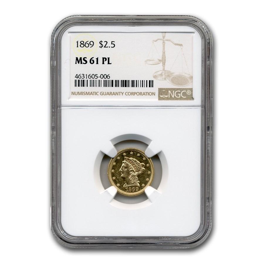 1869 $2.50 Liberty Gold Quarter Eagle MS-61 NGC (PL)