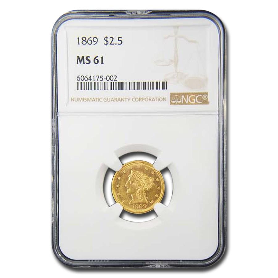 1869 $2.50 Liberty Gold Quarter Eagle MS-61 NGC