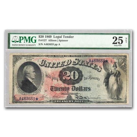 "1869 $20 Legal Tender ""Rainbow"" VF-25 PMG (Fr#127)"