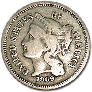 1869 3 Cent Nickel Fine