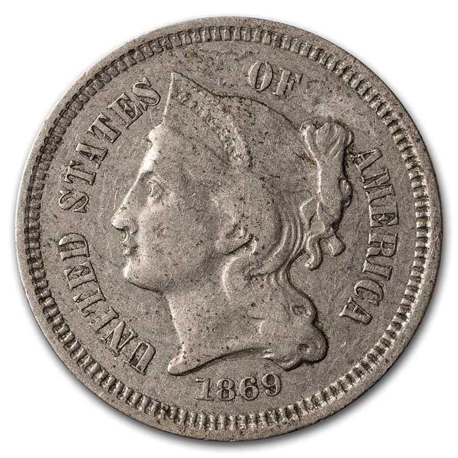 1869 3 Cent Nickel VF