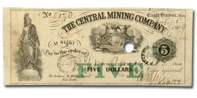 1869 $5.00 The Central Mining Co., Eagle Harbor MI VF