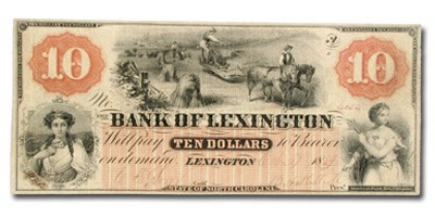 1869 Bank of Lexington, NC $10 NC-30 XF