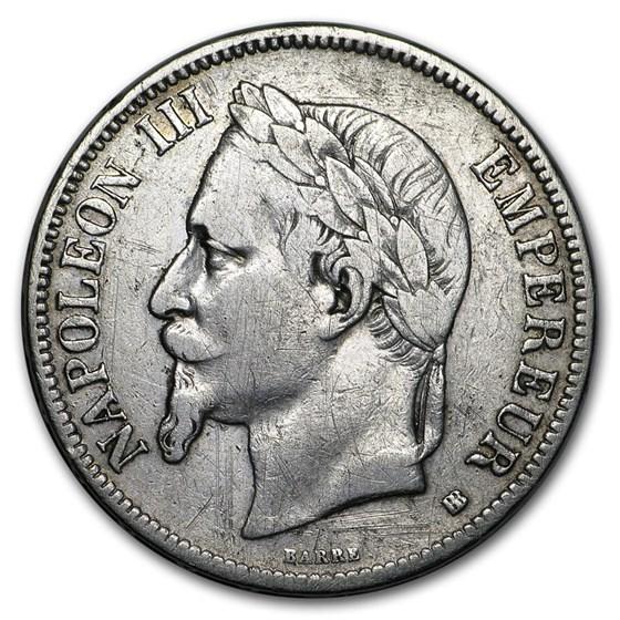 1869-BB France Silver 5 Francs AU Details