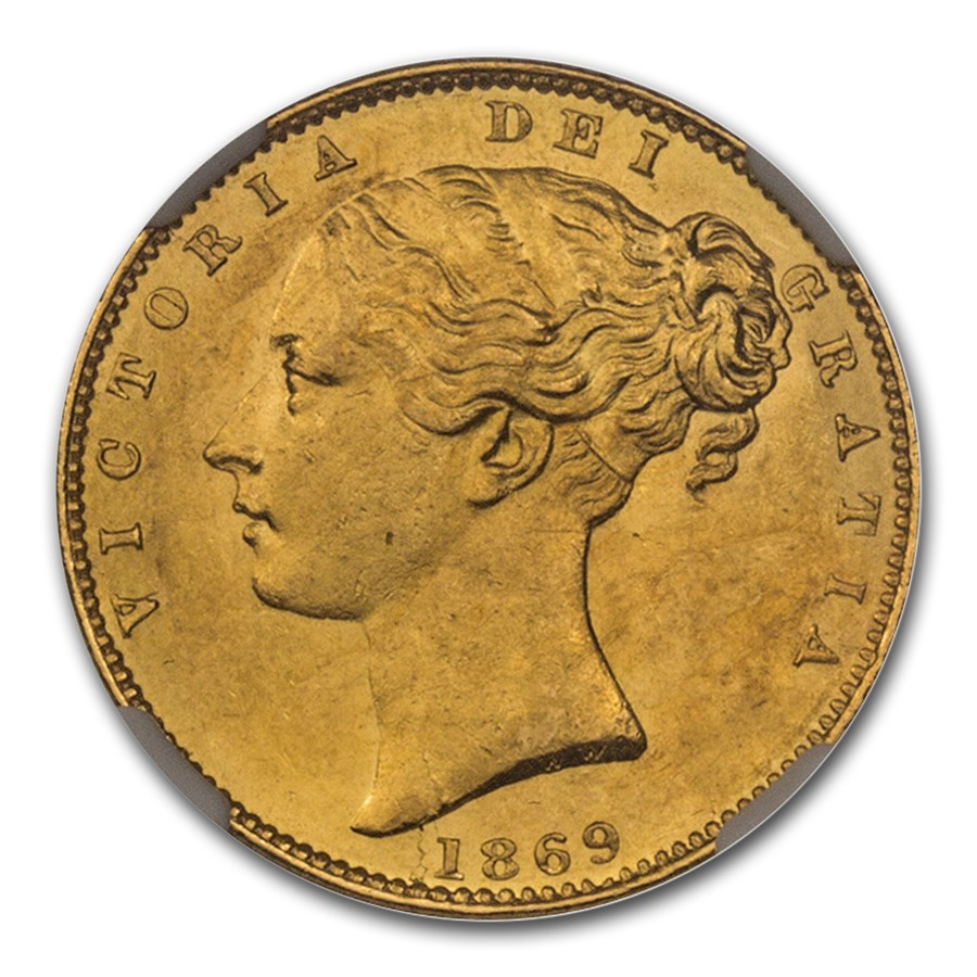 1869 Great Britain Gold Sovereign Victoria Shield MS-63 NGC