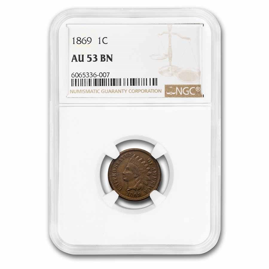 1869 Indian Head Cent AU-53 NGC (Brown)