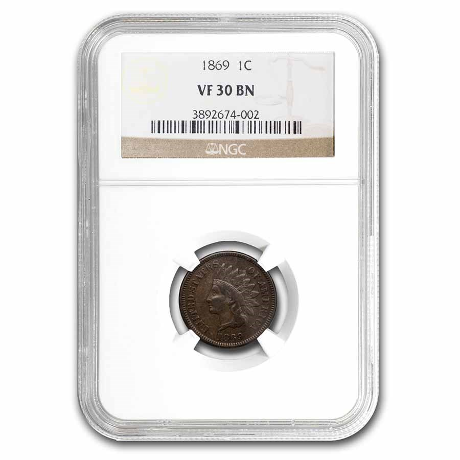 1869 Indian Head Cent VF-30 NGC